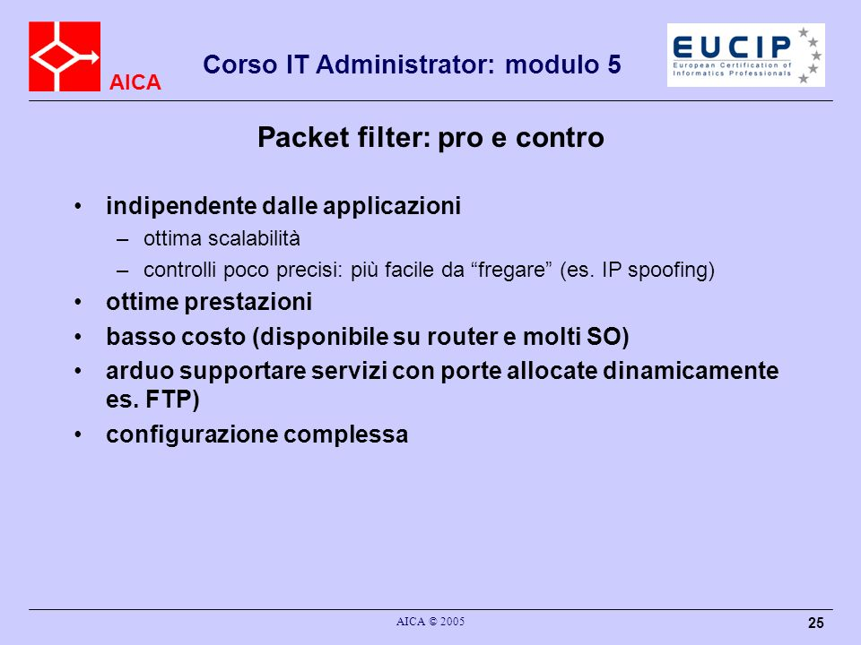 Packet filter: pro e contro