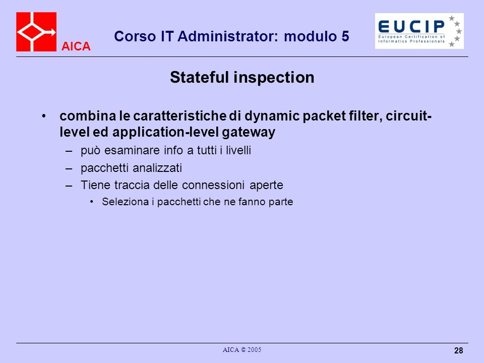 Stateful inspectioncombina le caratteristiche di dynamic packet filter, circuit-level ed application-level gateway.