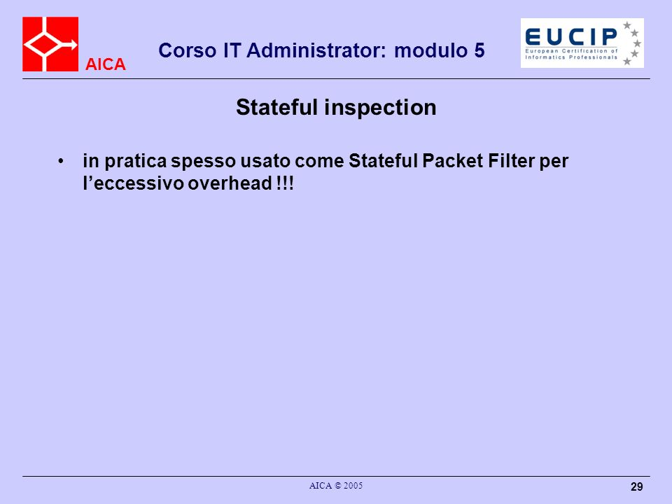 Stateful inspection in pratica spesso usato come Stateful Packet Filter per l'eccessivo overhead !!!