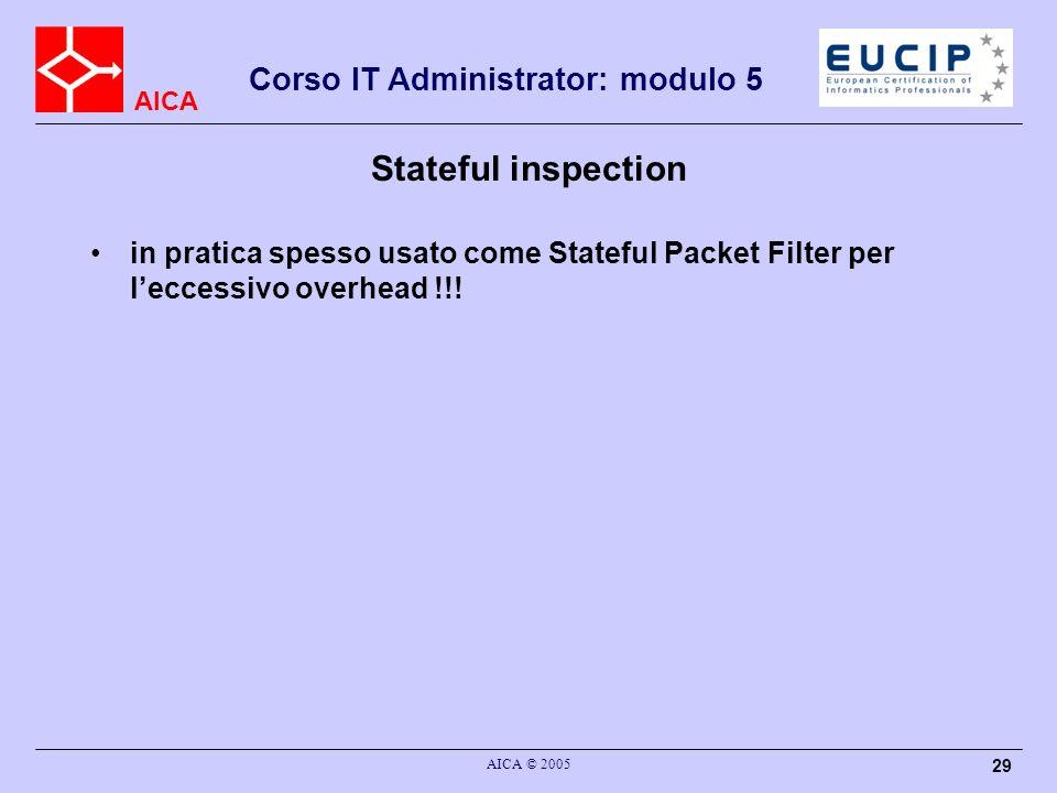 Stateful inspectionin pratica spesso usato come Stateful Packet Filter per l'eccessivo overhead !!!