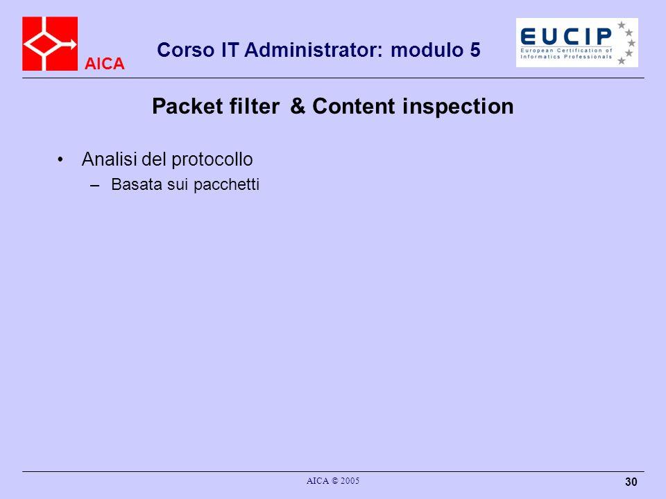 Packet filter & Content inspection