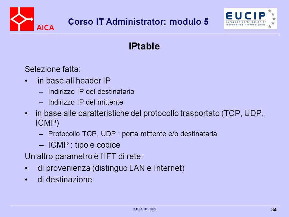 IPtable Selezione fatta: in base all'header IP