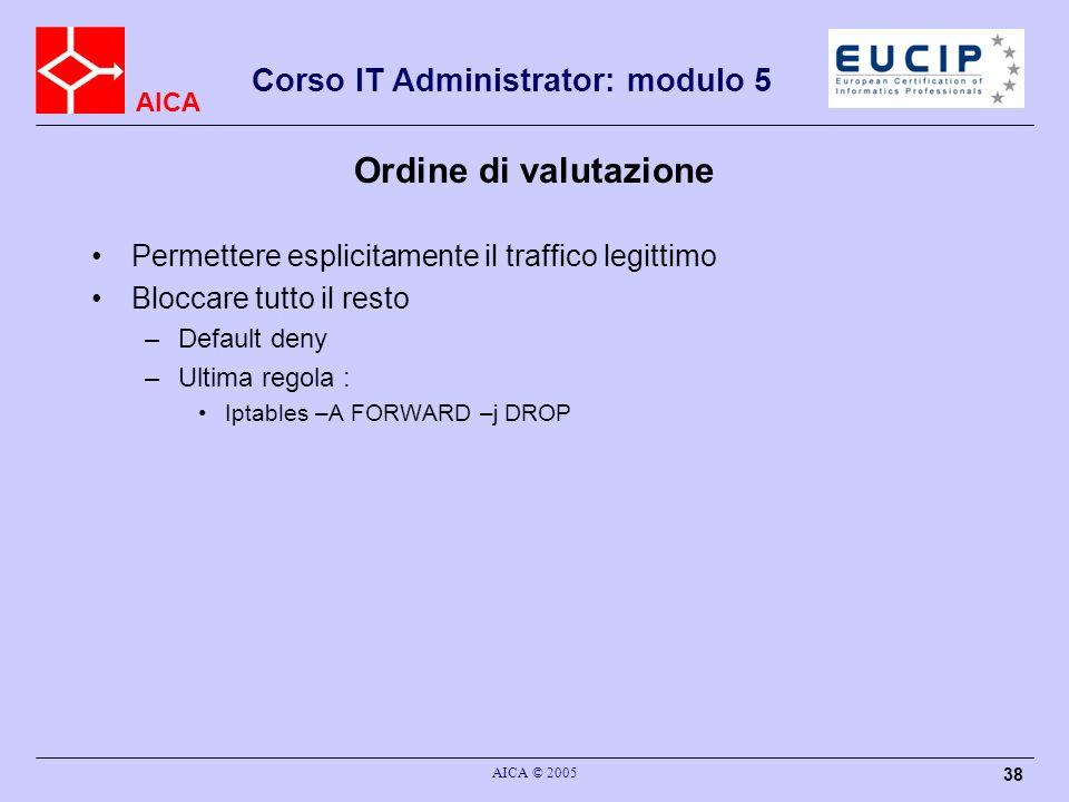 Ordine di valutazione Permettere esplicitamente il traffico legittimo