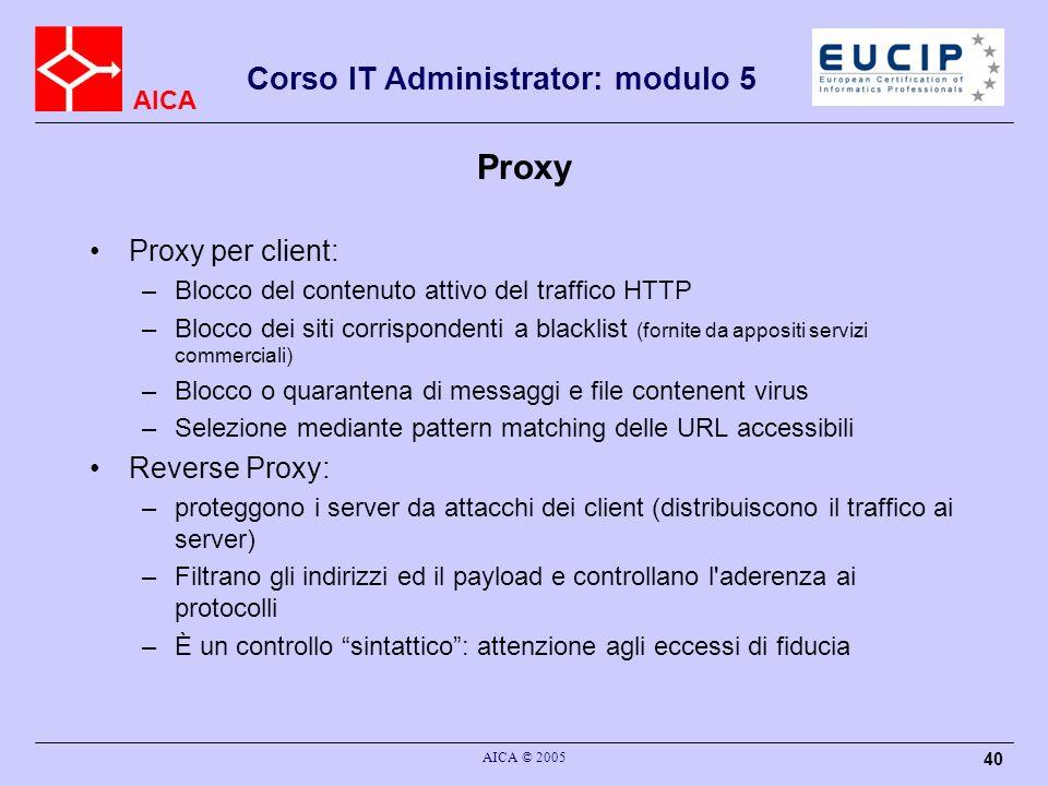 Proxy Proxy per client: Reverse Proxy: