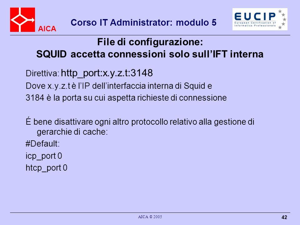 File di configurazione: SQUID accetta connessioni solo sull'IFT interna