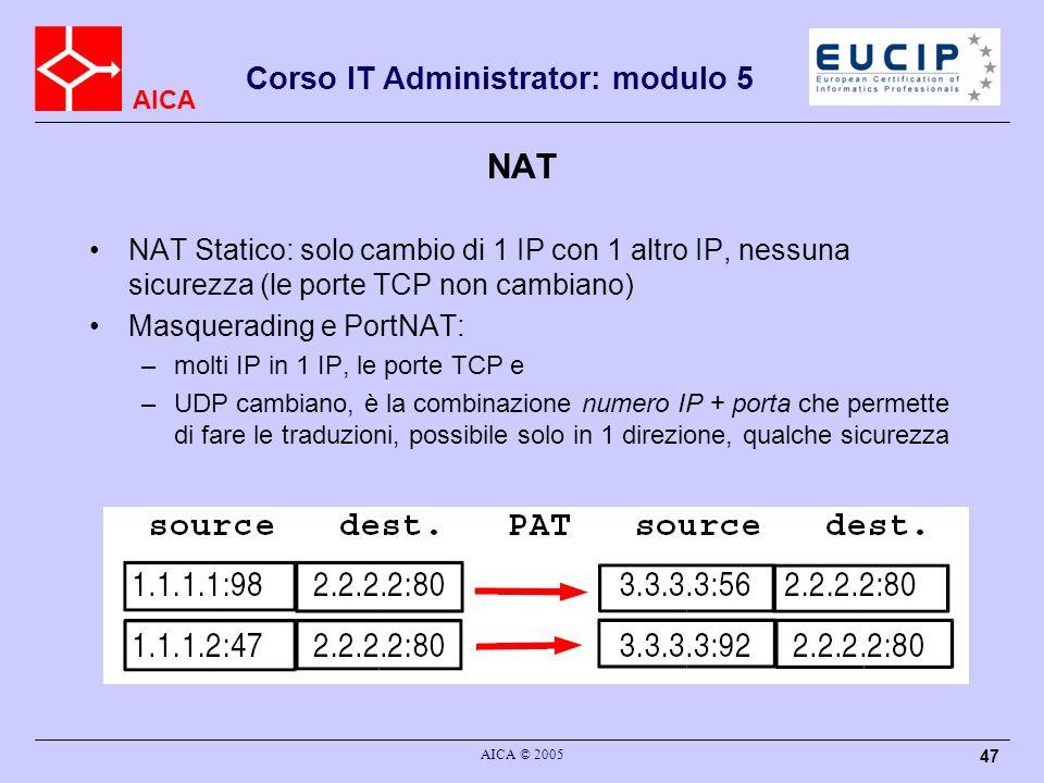 NAT NAT Statico: solo cambio di 1 IP con 1 altro IP, nessuna sicurezza (le porte TCP non cambiano) Masquerading e PortNAT: