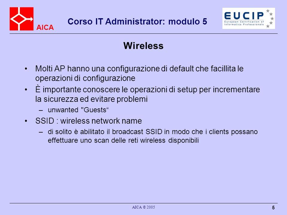 WirelessMolti AP hanno una configurazione di default che facillita le operazioni di configurazione.