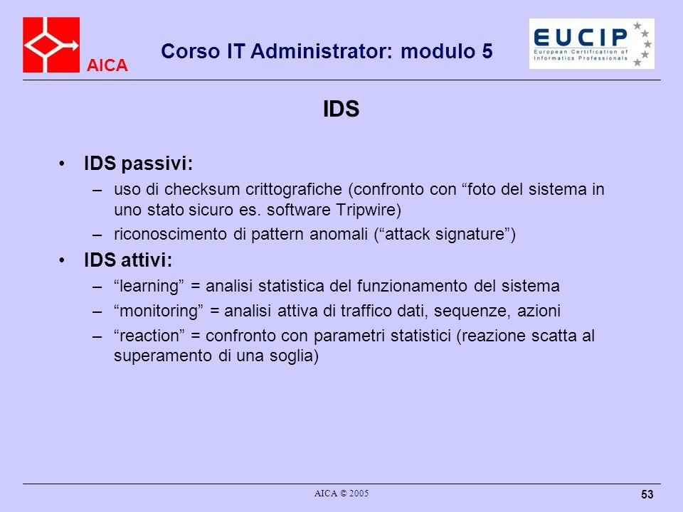 IDS IDS passivi: IDS attivi: