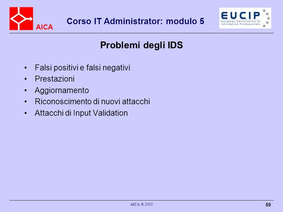 Problemi degli IDS Falsi positivi e falsi negativi Prestazioni