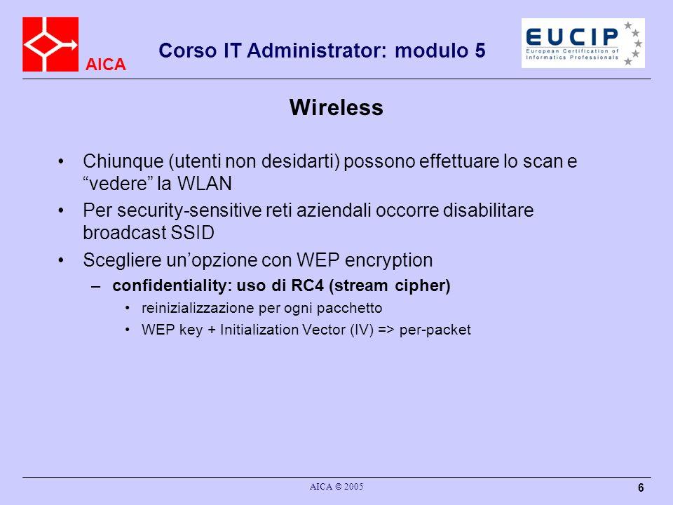 Wireless Chiunque (utenti non desidarti) possono effettuare lo scan e vedere la WLAN.
