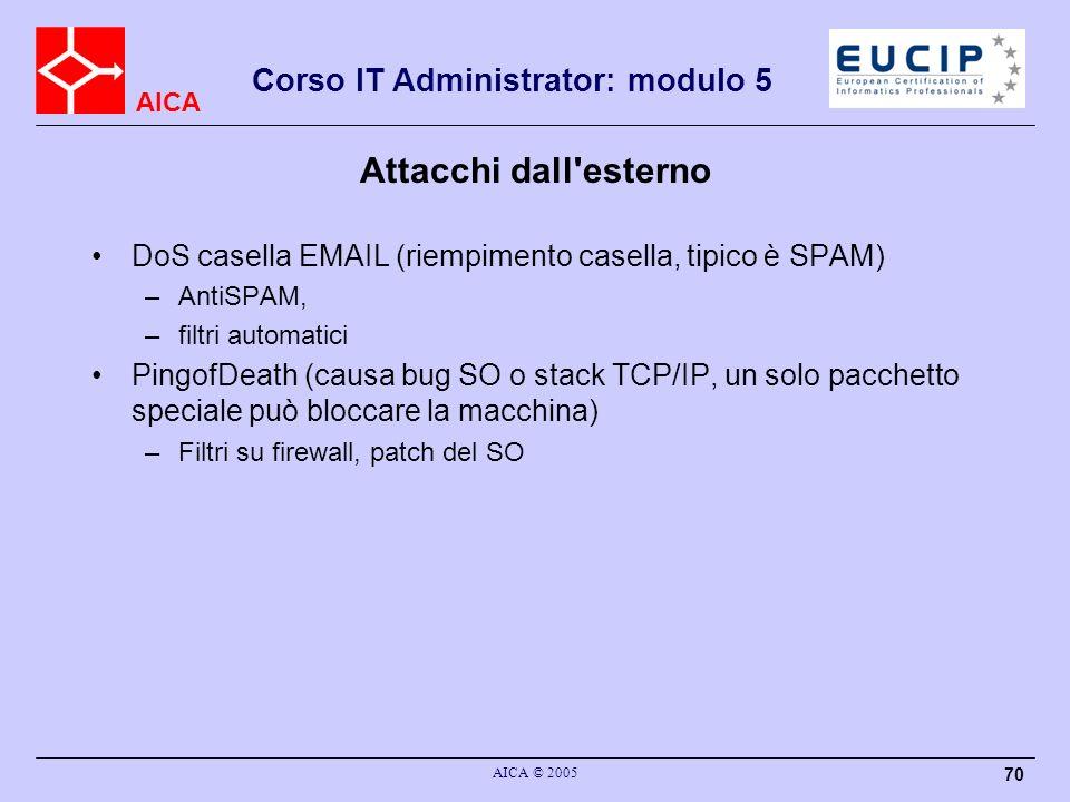 Attacchi dall esterno DoS casella EMAIL (riempimento casella, tipico è SPAM) AntiSPAM, filtri automatici.