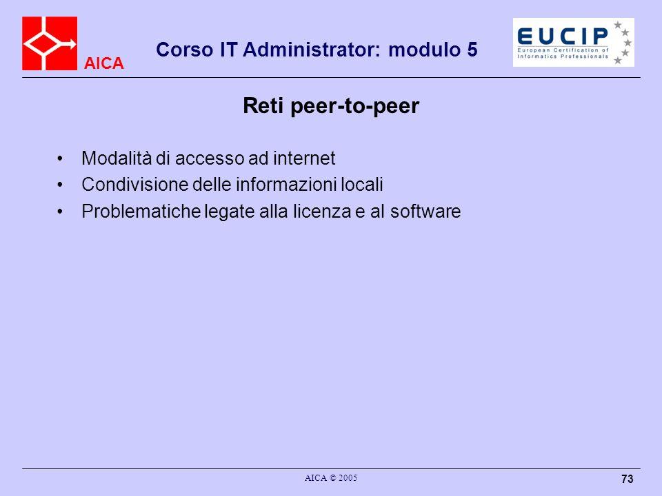Reti peer-to-peer Modalità di accesso ad internet