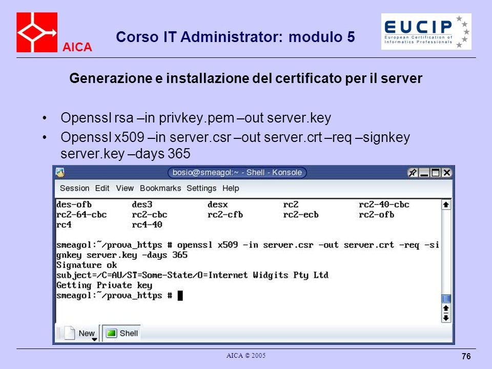 Generazione e installazione del certificato per il server