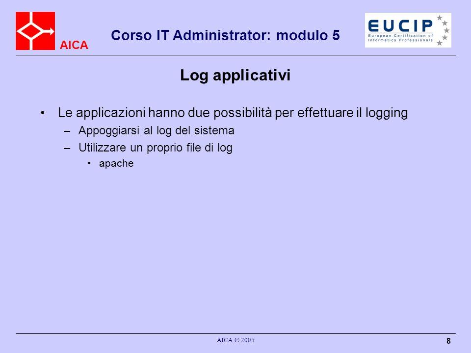 Log applicativi Le applicazioni hanno due possibilità per effettuare il logging. Appoggiarsi al log del sistema.