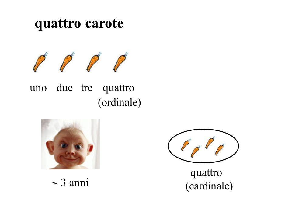 quattro carote uno due tre quattro (ordinale) quattro (cardinale)
