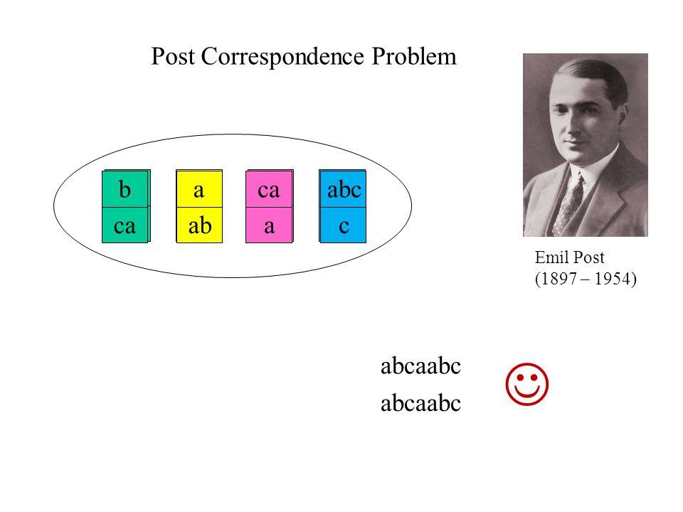  Post Correspondence Problem b ca b ca a ab a ab a ab ca a ca a abc c