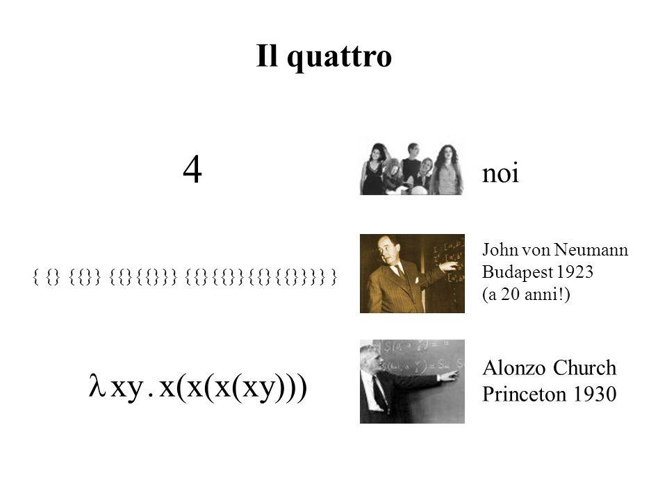 4 Il quattro l xy . x(x(x(xy))) noi Alonzo Church Princeton 1930