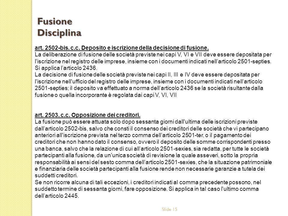 Fusione Disciplina art. 2502-bis. c.c. Deposito e iscrizione della decisione di fusione.