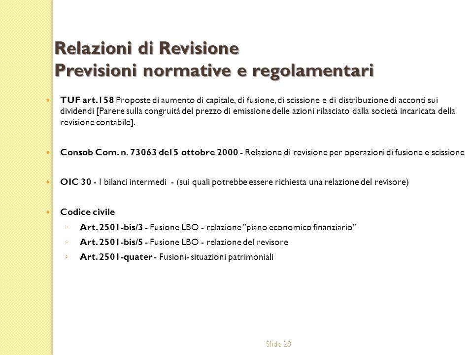 Relazioni di Revisione Previsioni normative e regolamentari