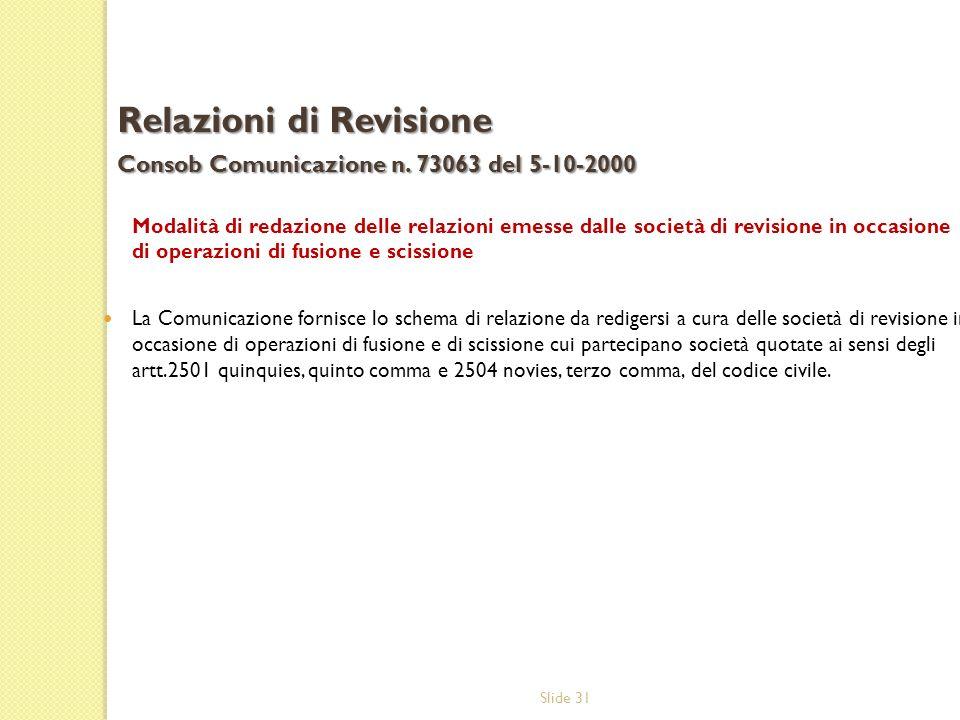 Relazioni di Revisione Consob Comunicazione n. 73063 del 5-10-2000
