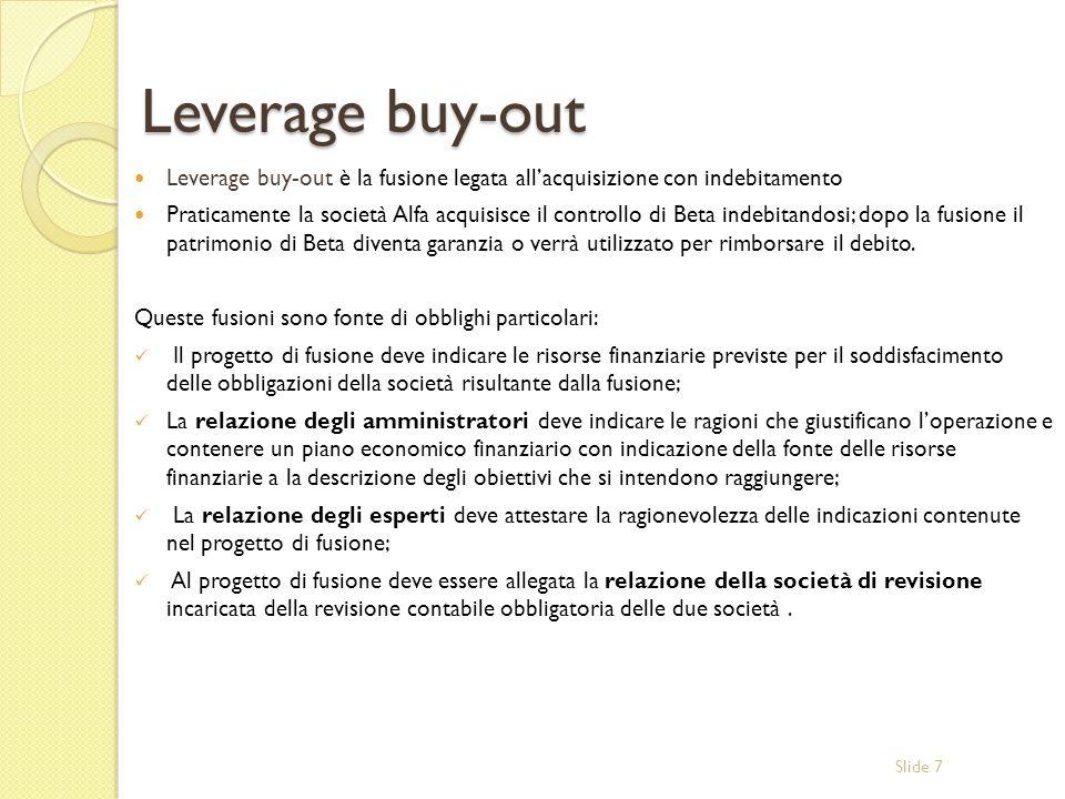 Leverage buy-out Leverage buy-out è la fusione legata all'acquisizione con indebitamento.