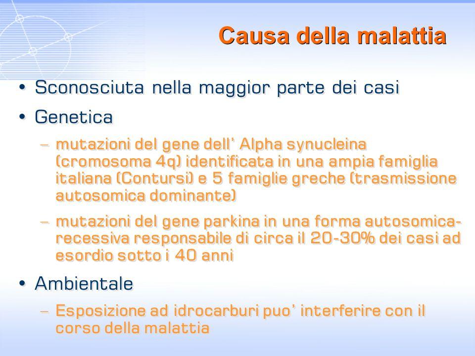 Causa della malattia Sconosciuta nella maggior parte dei casi Genetica