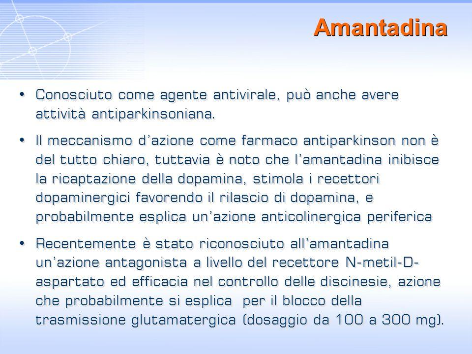 Amantadina Conosciuto come agente antivirale, può anche avere attività antiparkinsoniana.