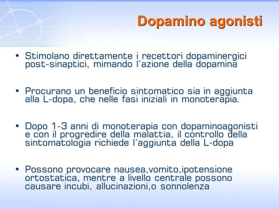 Dopamino agonisti Stimolano direttamente i recettori dopaminergici post-sinaptici, mimando l'azione della dopamina.