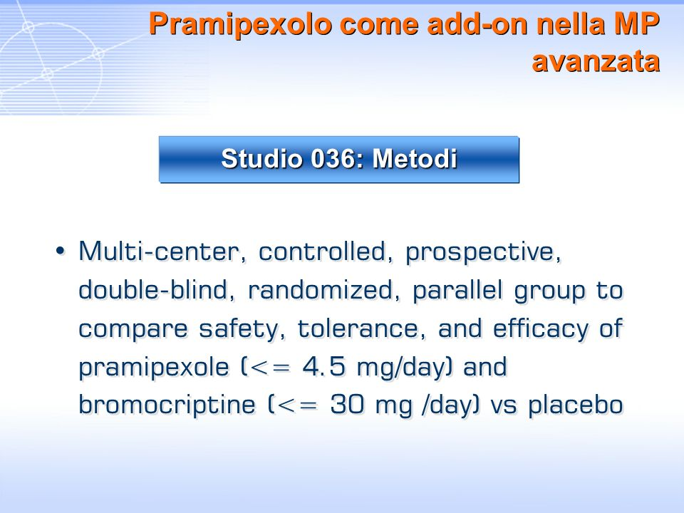 Pramipexolo come add-on nella MP avanzata