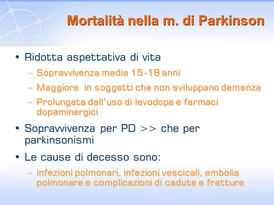 Mortalità nella m. di Parkinson