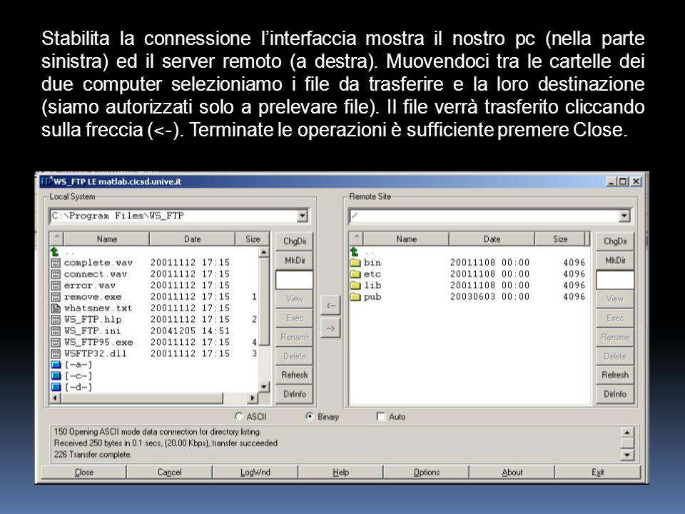 Stabilita la connessione l'interfaccia mostra il nostro pc (nella parte sinistra) ed il server remoto (a destra).
