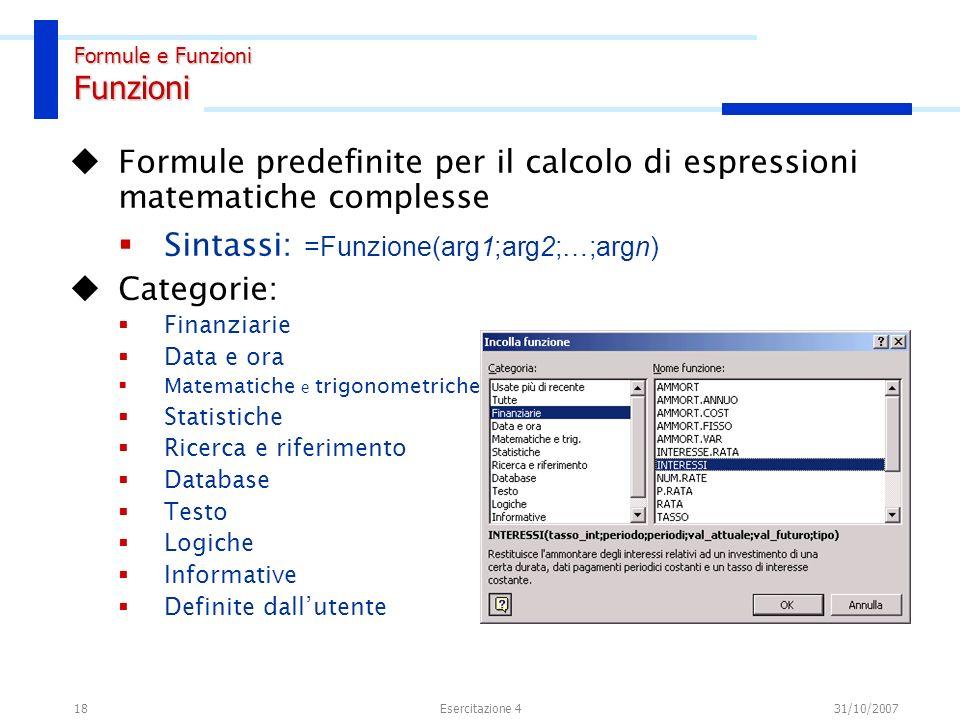 Formule e Funzioni Nomi di cella o intervallo
