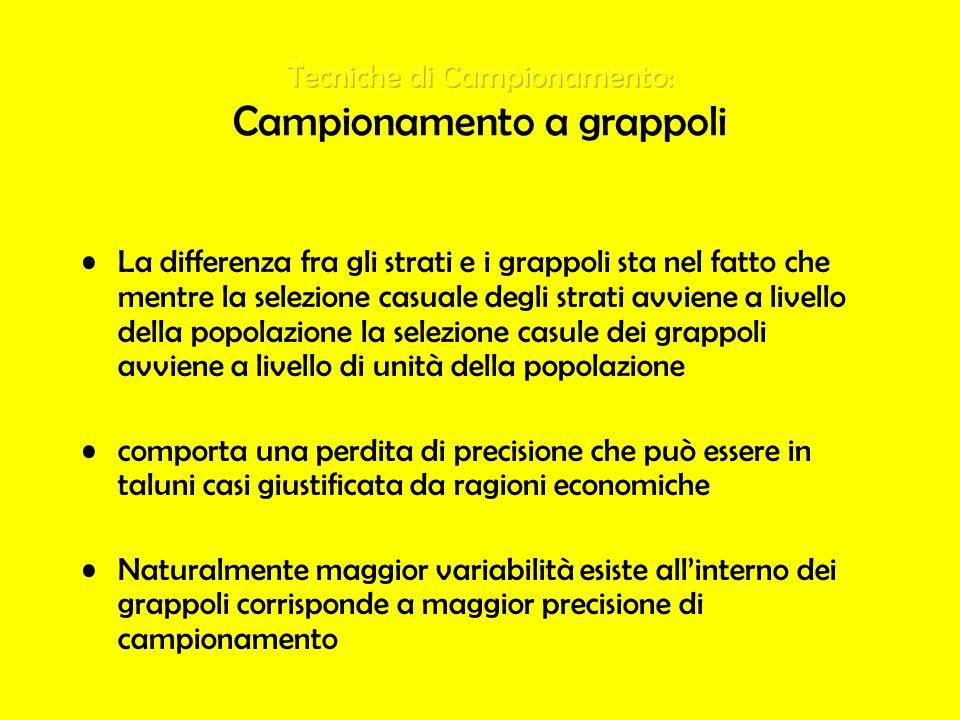 Tecniche di Campionamento: Campionamento a grappoli