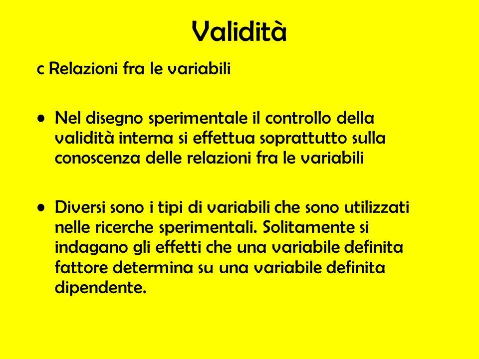 Validità c Relazioni fra le variabili