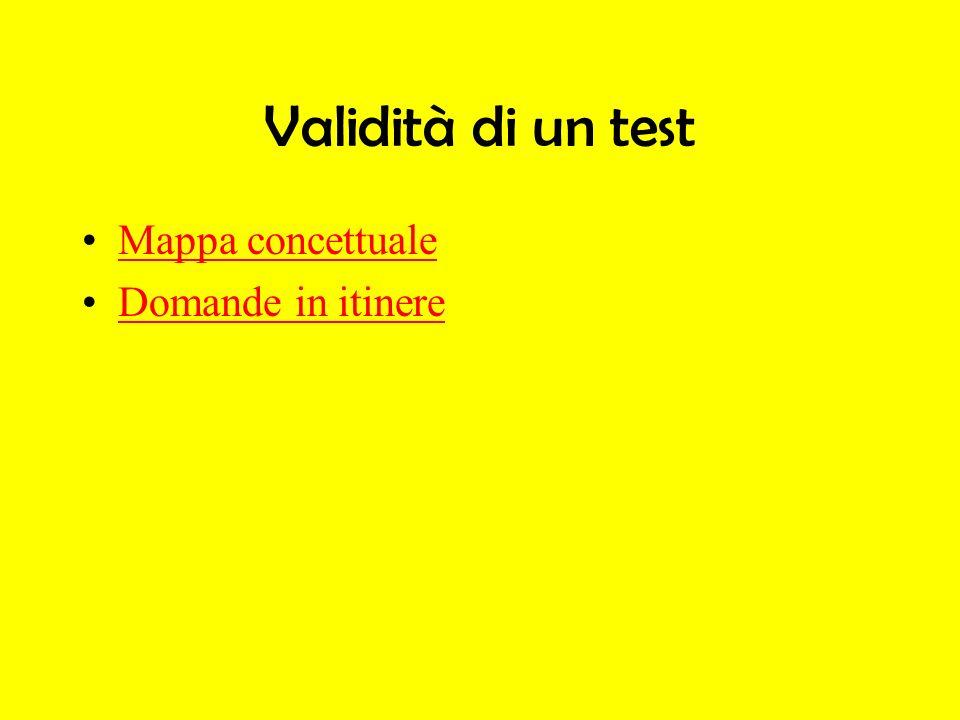 Validità di un test Mappa concettuale Domande in itinere