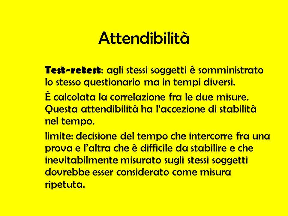 Attendibilità Test-retest: agli stessi soggetti è somministrato lo stesso questionario ma in tempi diversi.