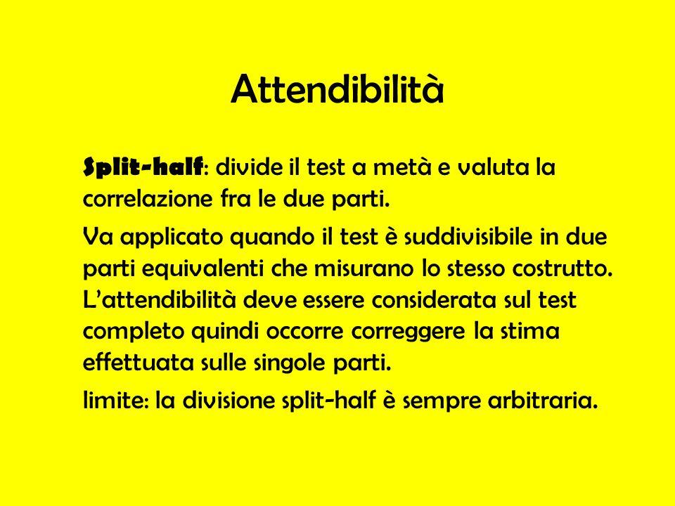 Attendibilità Split-half: divide il test a metà e valuta la correlazione fra le due parti.