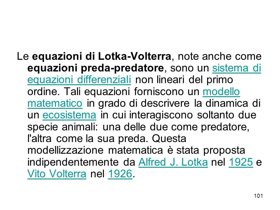 Le equazioni di Lotka-Volterra, note anche come equazioni preda-predatore, sono un sistema di equazioni differenziali non lineari del primo ordine.