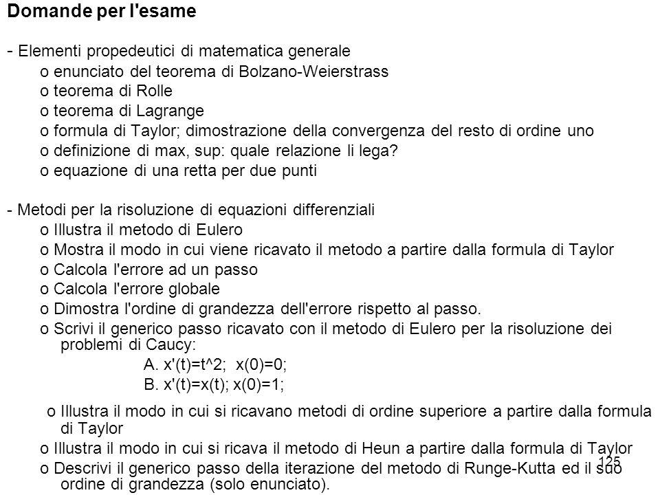 Domande per l esame - Elementi propedeutici di matematica generale. o enunciato del teorema di Bolzano-Weierstrass.