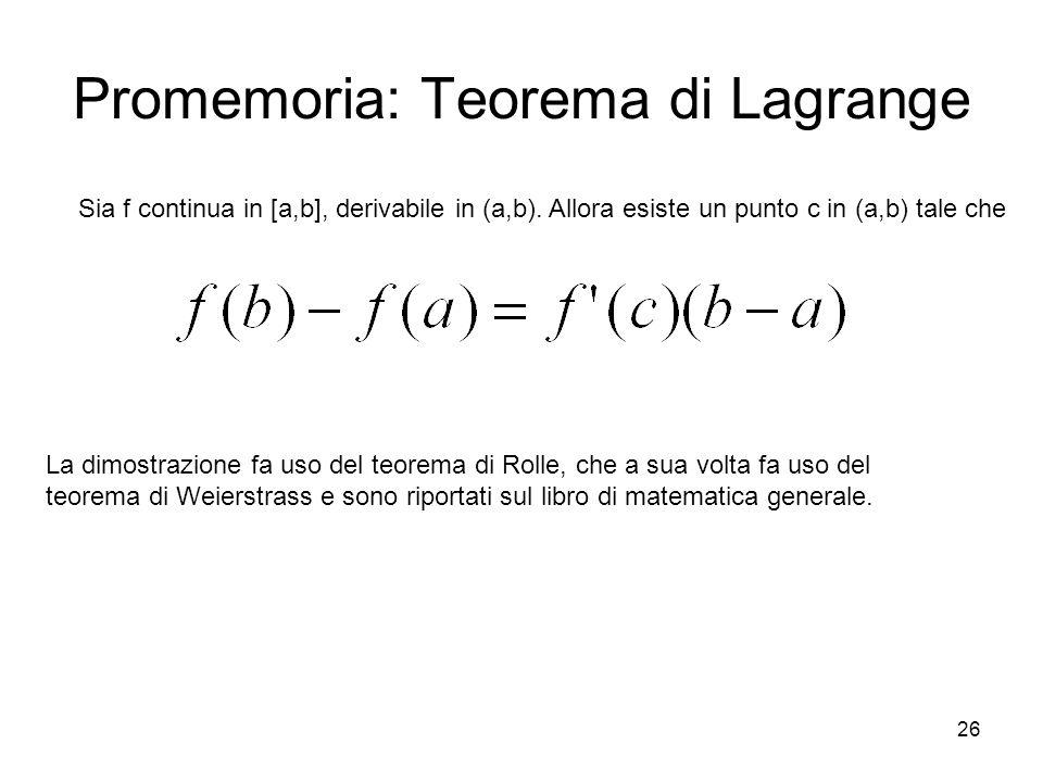 Promemoria: Teorema di Lagrange