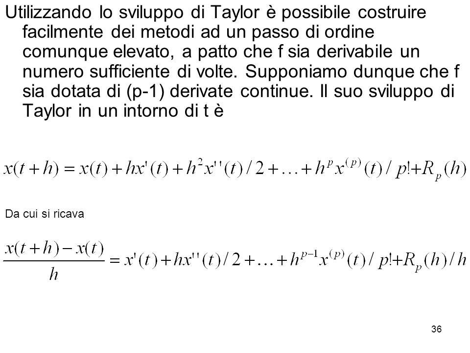 Utilizzando lo sviluppo di Taylor è possibile costruire facilmente dei metodi ad un passo di ordine comunque elevato, a patto che f sia derivabile un numero sufficiente di volte. Supponiamo dunque che f sia dotata di (p-1) derivate continue. Il suo sviluppo di Taylor in un intorno di t è