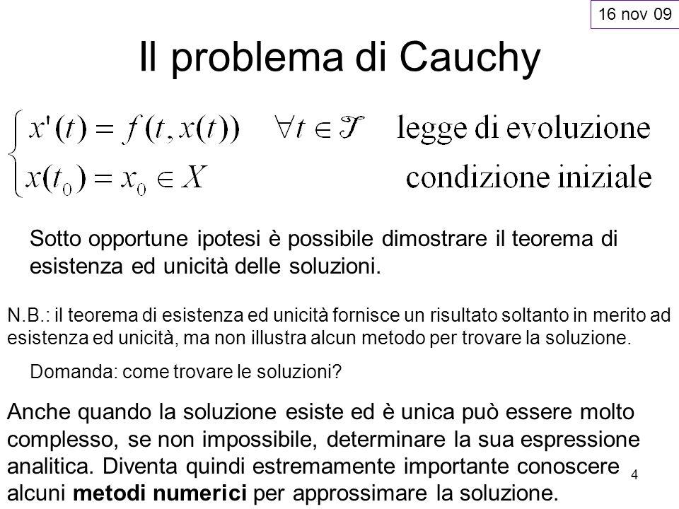 16 nov 09Il problema di Cauchy. Sotto opportune ipotesi è possibile dimostrare il teorema di esistenza ed unicità delle soluzioni.