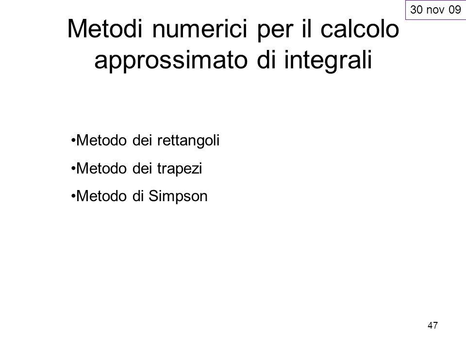Metodi numerici per il calcolo approssimato di integrali