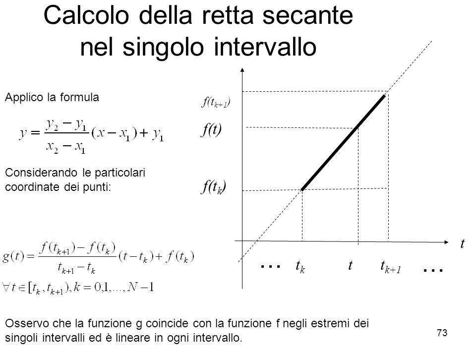Calcolo della retta secante nel singolo intervallo