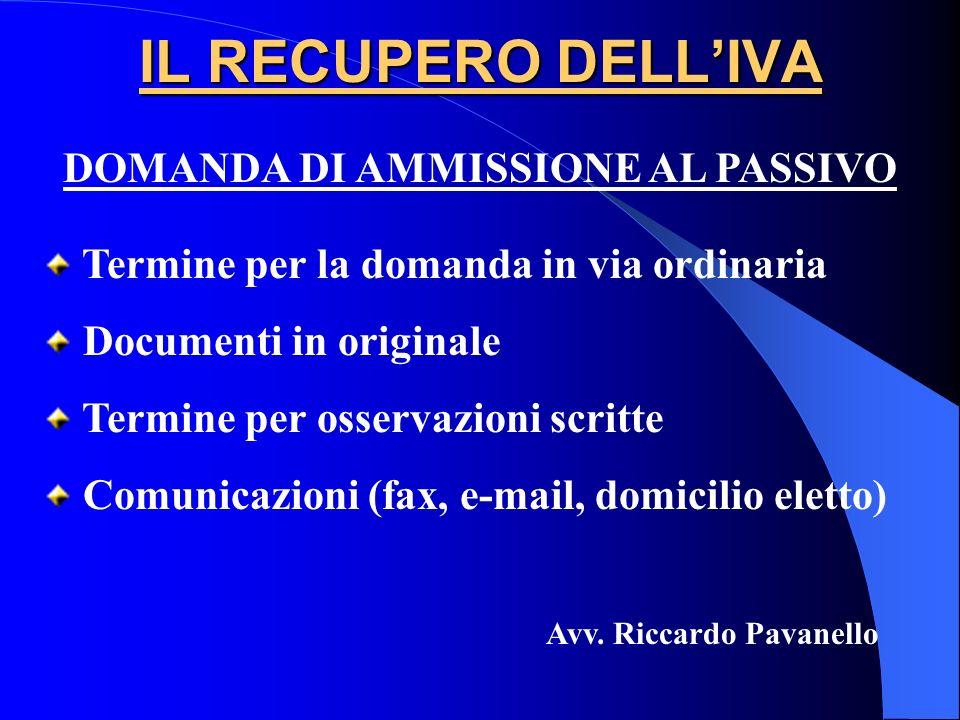 DOMANDA DI AMMISSIONE AL PASSIVO