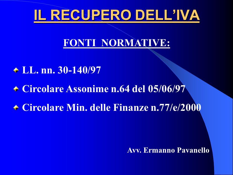 IL RECUPERO DELL'IVA FONTI NORMATIVE: LL. nn. 30-140/97