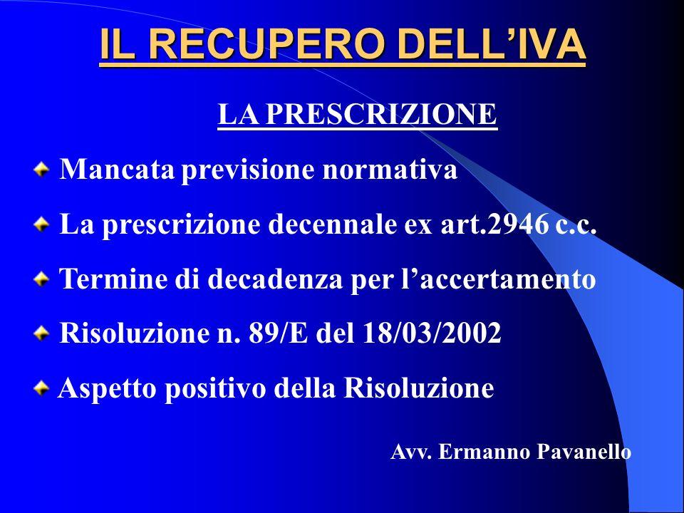 IL RECUPERO DELL'IVA LA PRESCRIZIONE Mancata previsione normativa