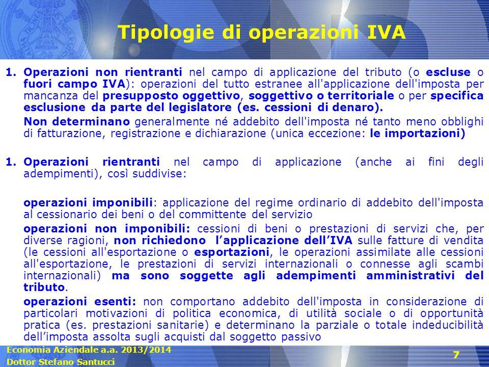 Tipologie di operazioni IVA