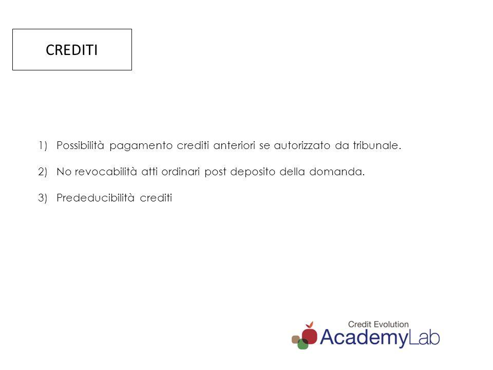 CREDITI Possibilità pagamento crediti anteriori se autorizzato da tribunale. No revocabilità atti ordinari post deposito della domanda.