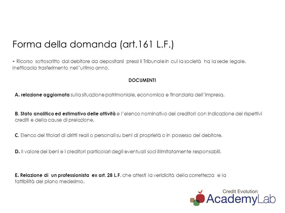 Forma della domanda (art. 161 L. F